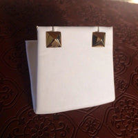 14K solid gold pyramid triangle stud earrings post earrings only one