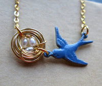 Mothers Love IV Bluebird Bluejay version mommy necklace with nest and eggs silver gold or bronze customized
