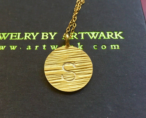 24k Gold vermeil sunshine handstamped custom initial disc boho necklace