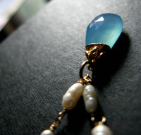 My Big Day Grade A aqua sky blue chalcedony and rice pearl 14K gold Wedding necklace