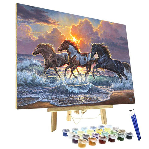 horses paint by numbers kit canada ocean