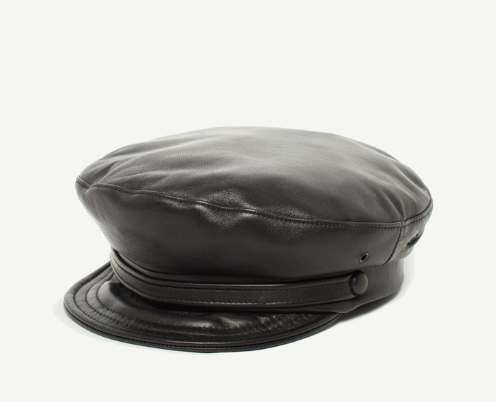 Black Leather Military Cap