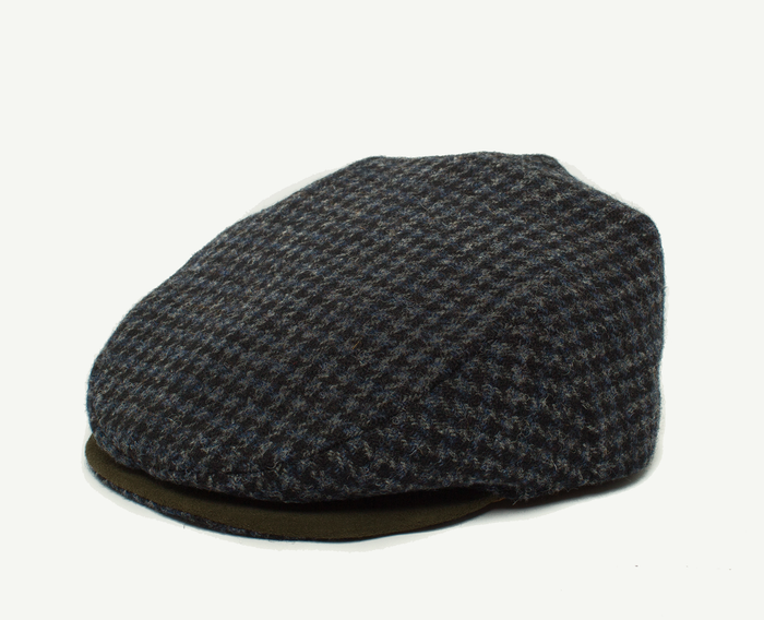 Checkered Navy Tweed Flatcap