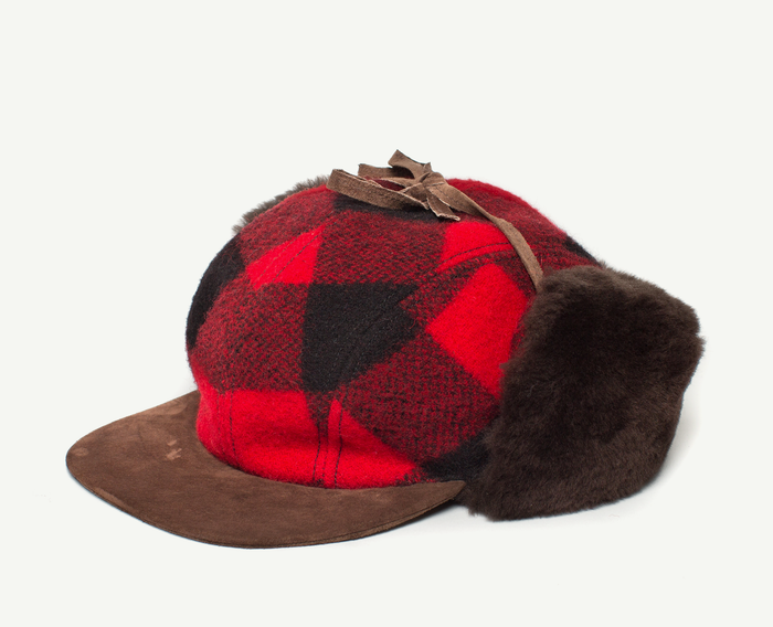 Red Plaid Baseball Cap w/ Fur Earflaps