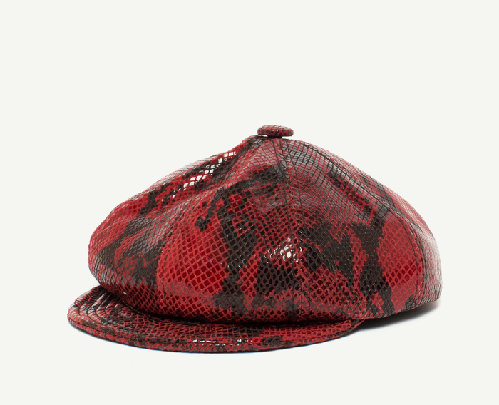 Red Snakeskin Leather Schoolboy