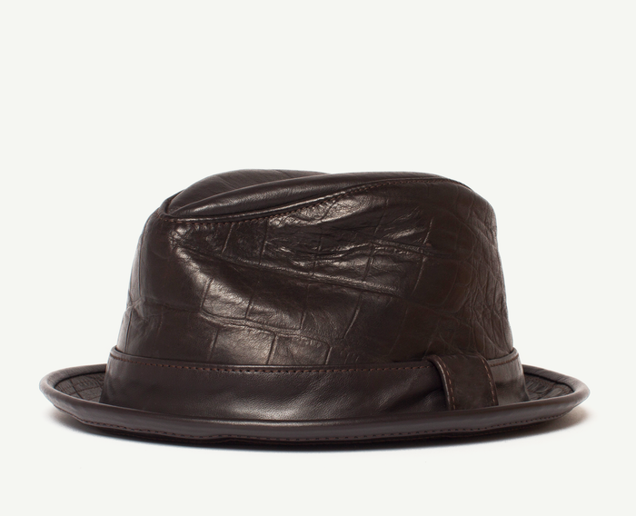 Dark Brown Leather Fedora
