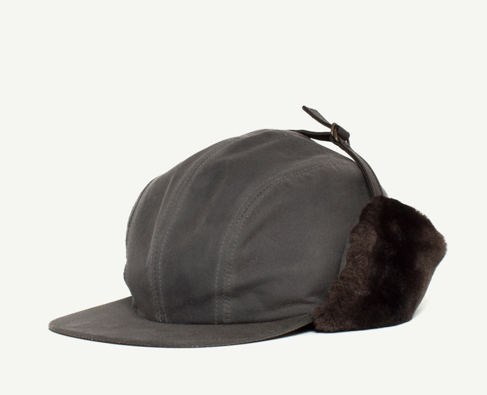 Grey Wax Cotton Baseball Cap w/ Fur Earflaps