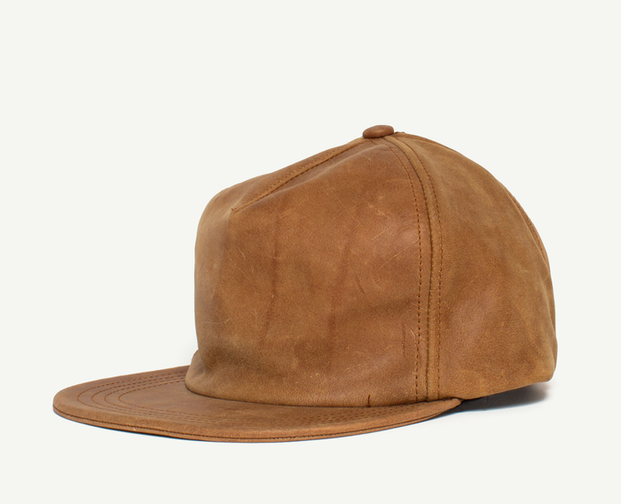 Brown Leather 6 Panel Baseball Cap