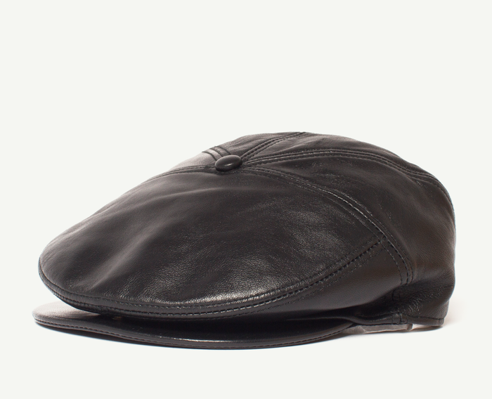 Black Leather Flatcap