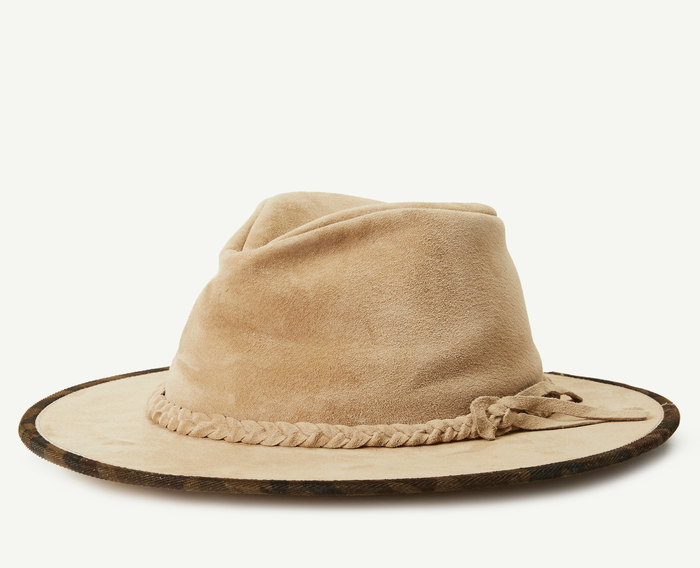 Tan Leather Outback Fedora