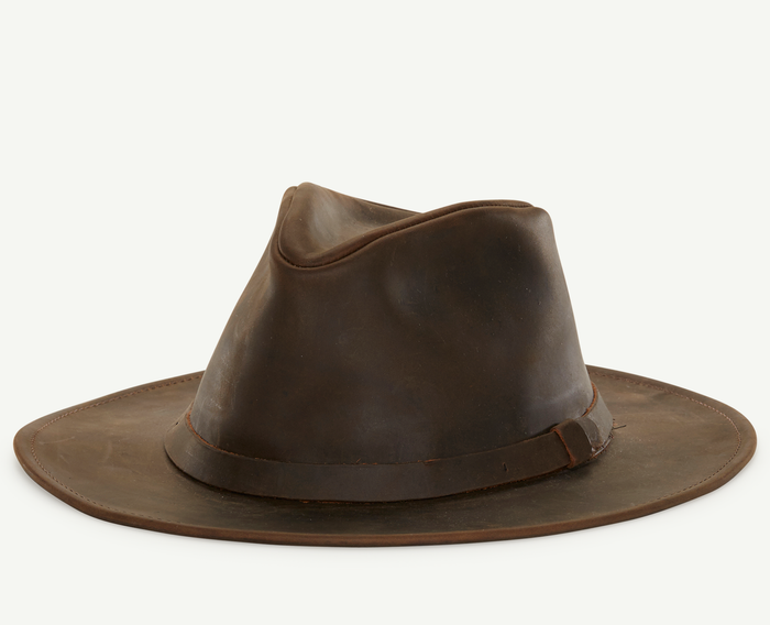 Brown Leather Outback Fedora