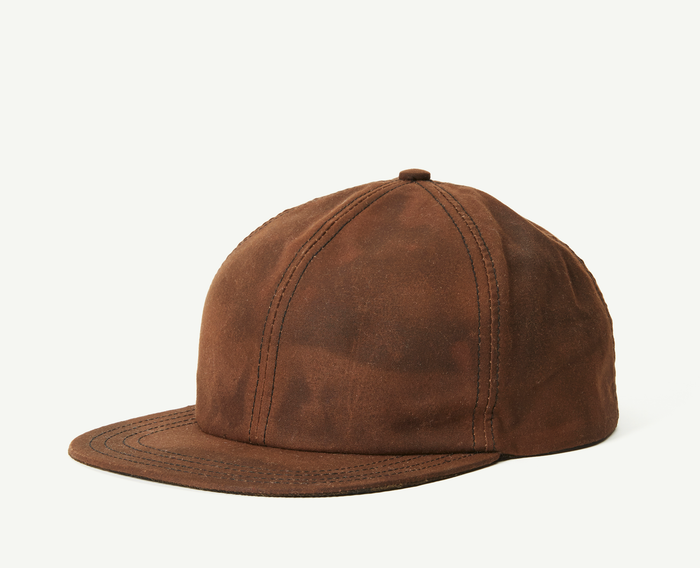 Brown Wax Cotton 6 Panel Baseball Cap
