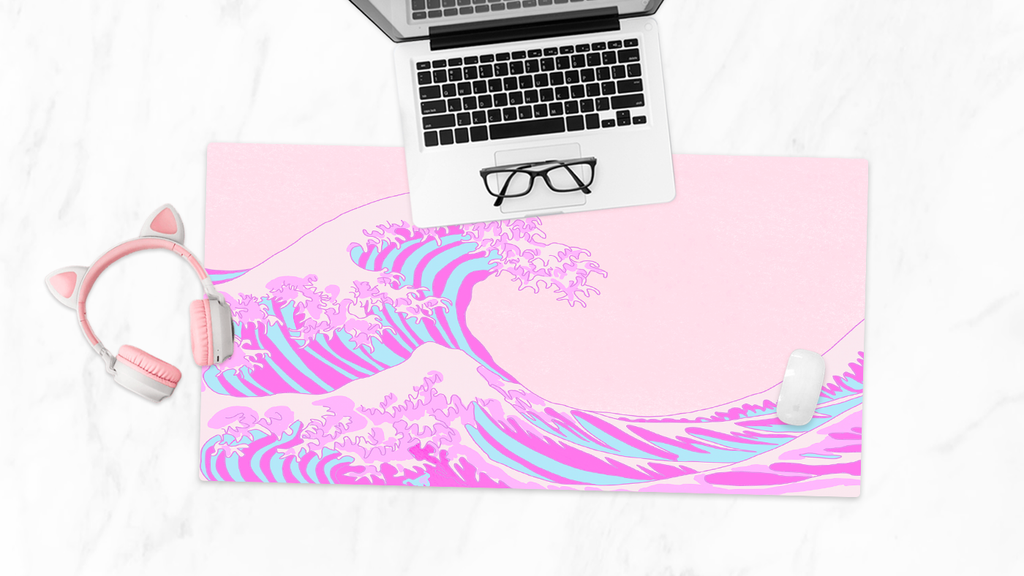 The Great Wave Desk Mat - Pink