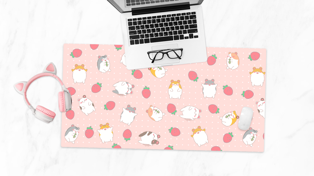 Hamsters and Strawberries Desk Mat - Pink