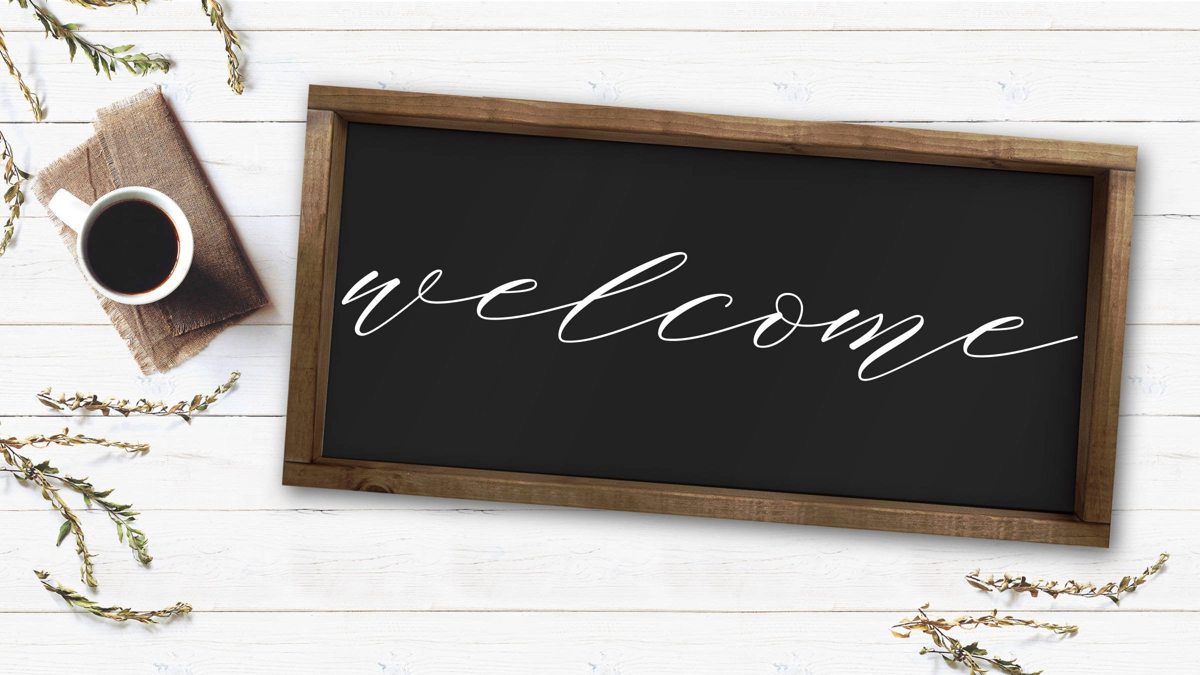 Welcome Wooden Farmhouse Sign