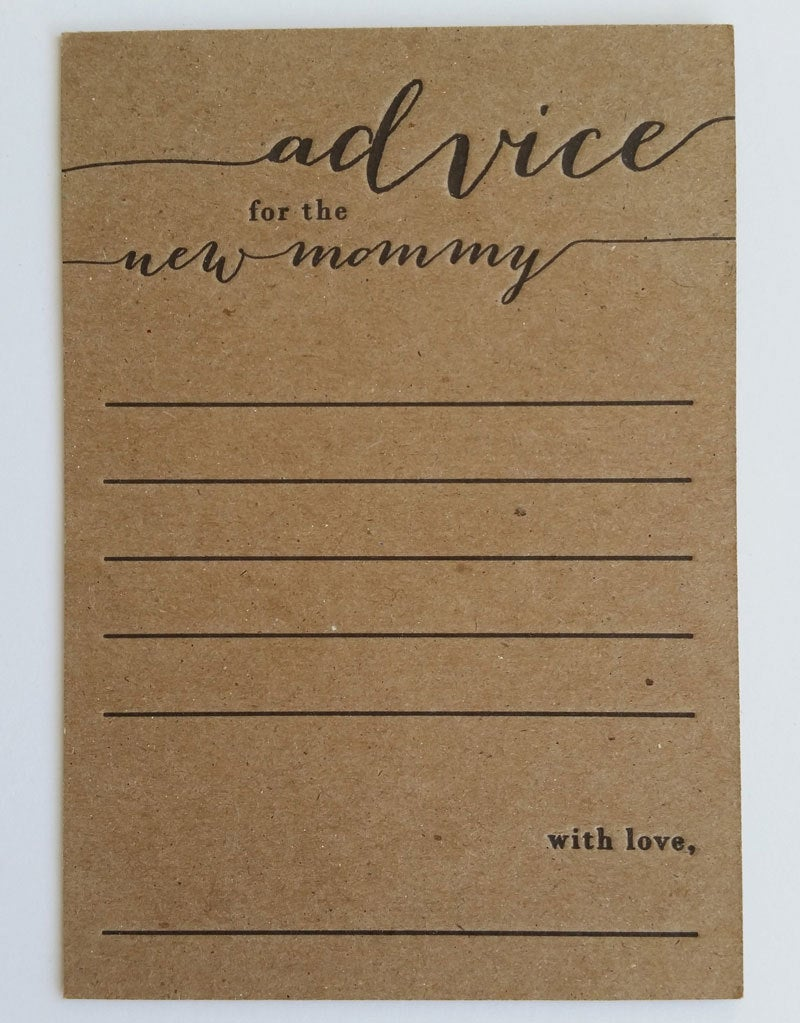 Advice For The New Mommy Letterpress Note Cards