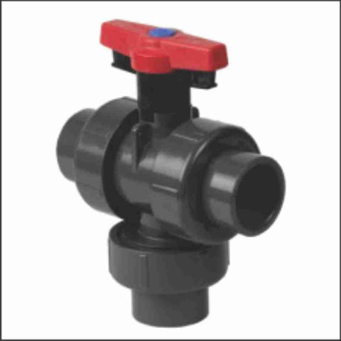 PVC True Union Industrial 3-Way Vertical Full Port Ball Valves Metric DIN Socket With L2 Port
