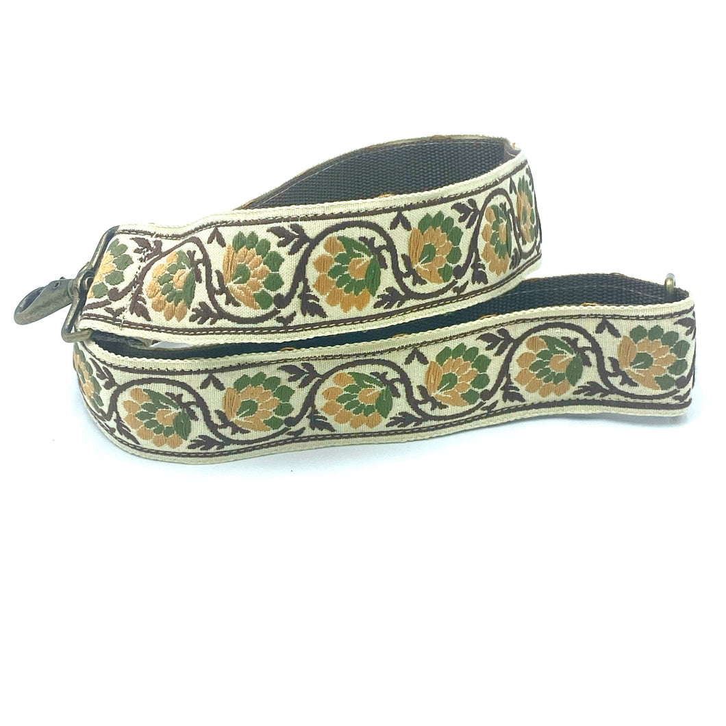 Vintage Trim Strap - brown, gold and green