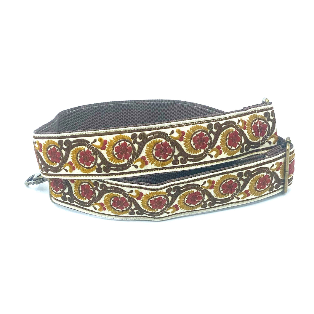 Vintage Trim Strap - chocolate brown and cranberry