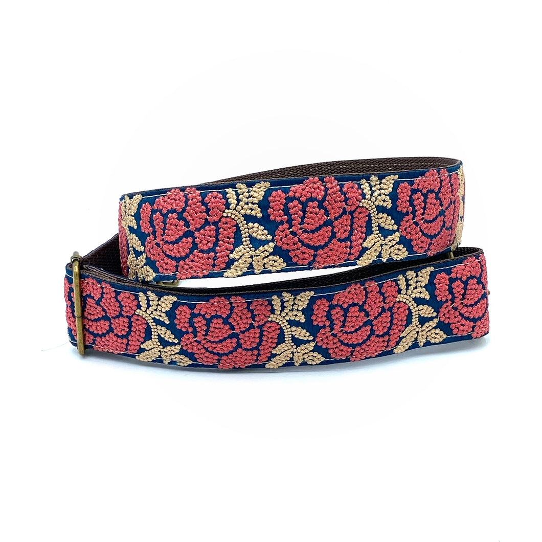 Vintage Sari Trim Strap - Navy with blush rose