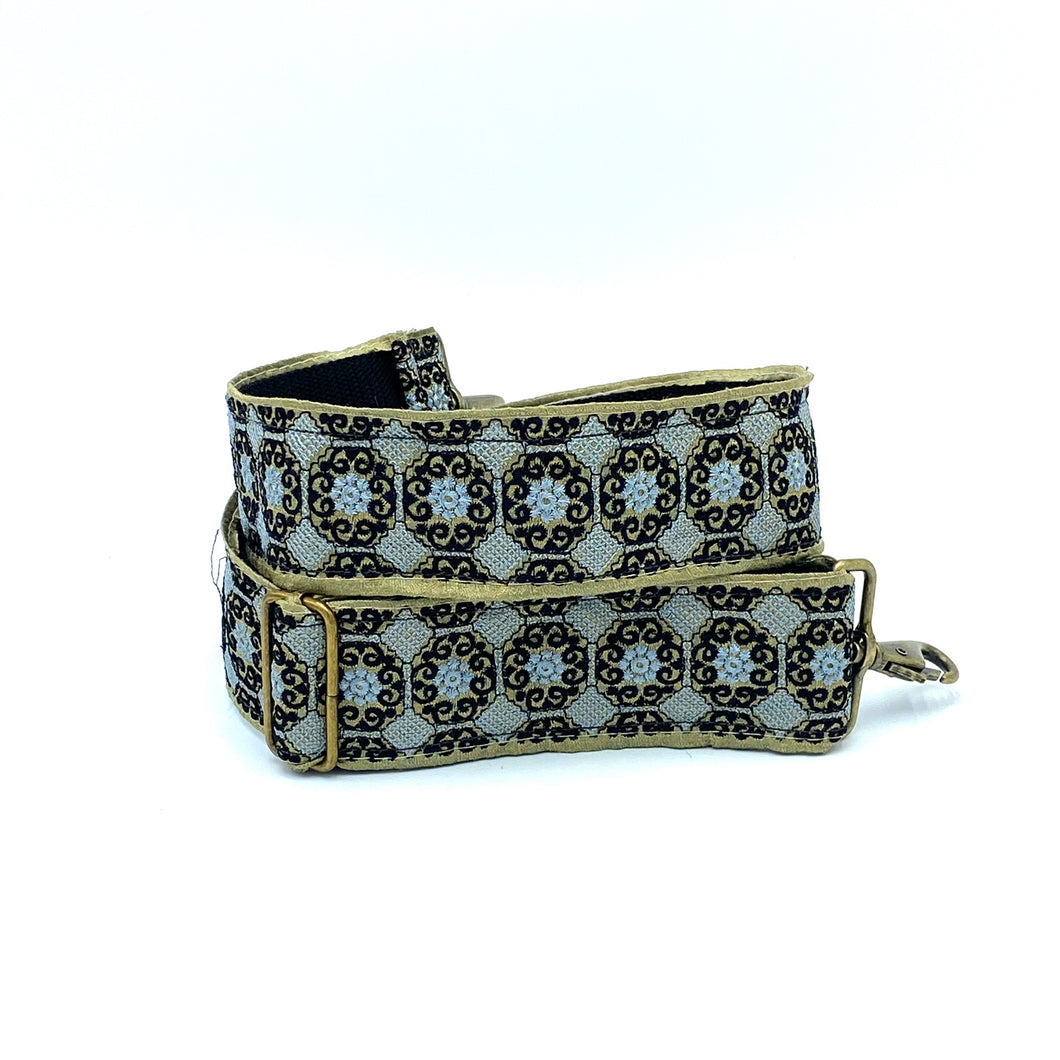 Vintage Trim Strap -Black and Turquoise