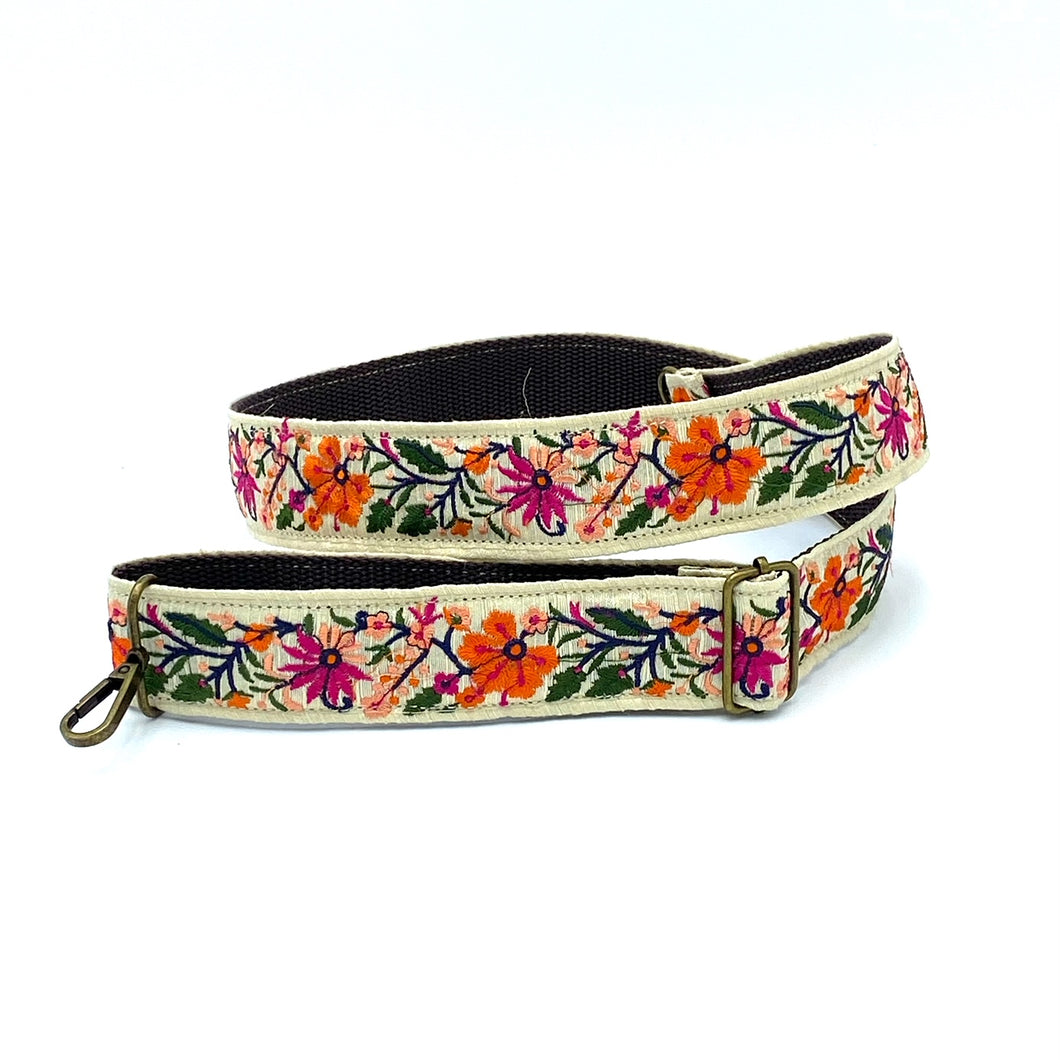 Vintage Trim Strap -orange and pink flowers