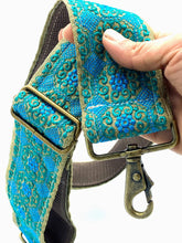 Load image into Gallery viewer, Vintage Sari Trim Strap - Teal and blue