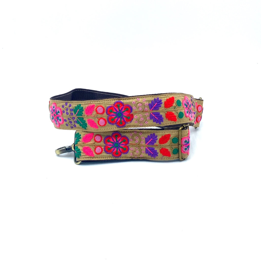 Sari trim strap - embroidered flowers on linen