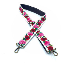 Load image into Gallery viewer, Sari trim strap - red and pink flowers