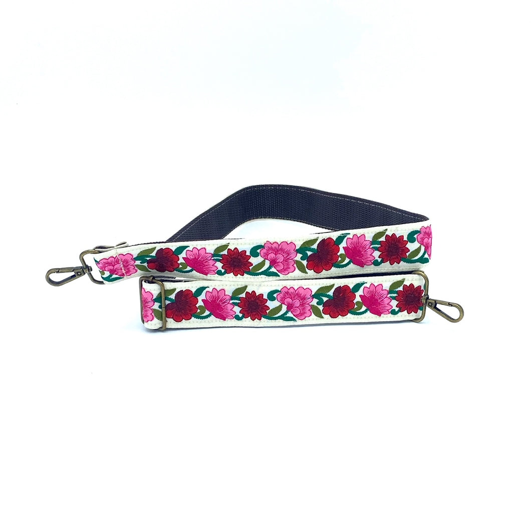 Sari trim strap - red and pink flowers