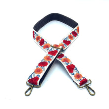 Load image into Gallery viewer, Sari trim strap - red and orange flowers
