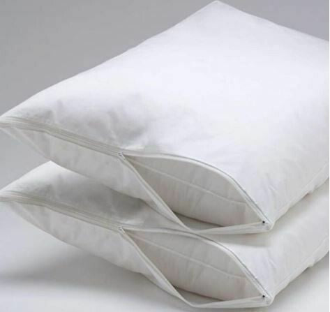 White Pillow Protector Queen with Side Zipper