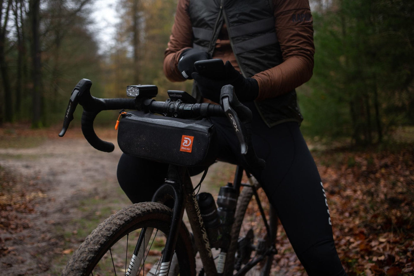 The Detour Studio Glove Box is a handlebar bag perfect for gravel bikes offroad riding for offroad adventures