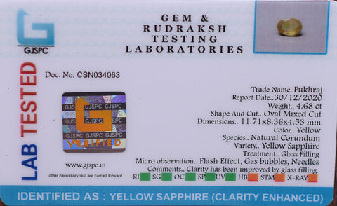 4.68 Ct Top Quality  Certified Yellow Sapphire Gemstone