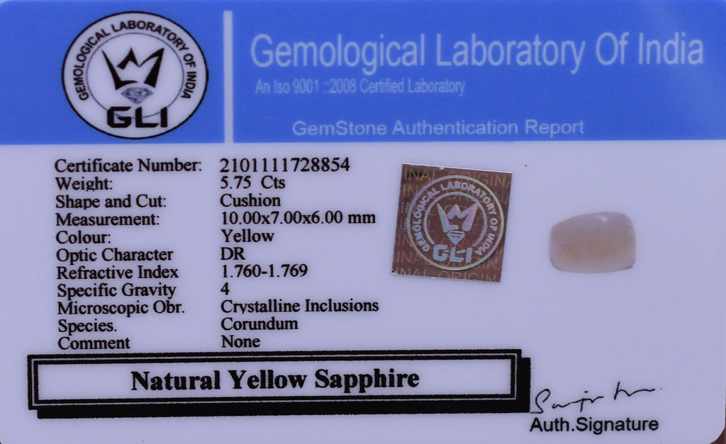 5.75 Ct Certified Best Quality Yellow Sapphire Gemstone