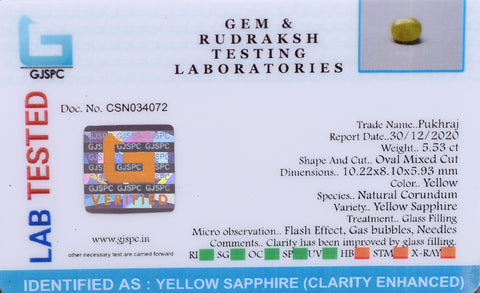5.53 Ct Genuine Certified Yellow Sapphire Gemstone