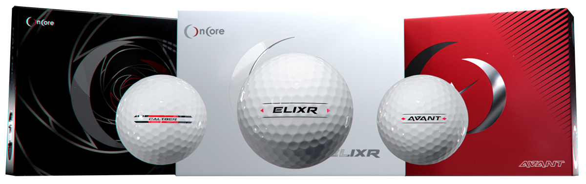 Caliber Elixr and Avant balls in front of box