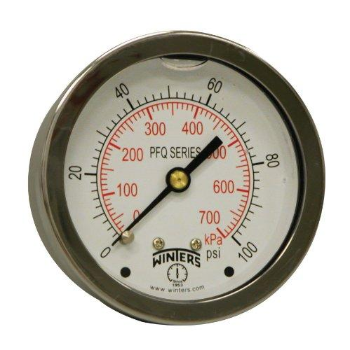 WINTERS PFQ SERIES STAINLESS STEEL LIQUID FILLED PRESSURE GAUGE