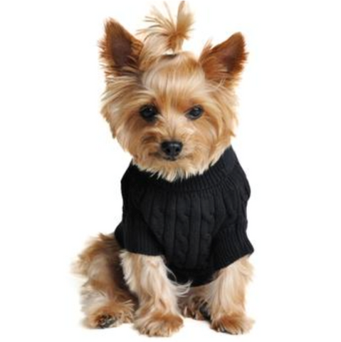 Combed Cotten Cable Knit Dog Sweater- Black