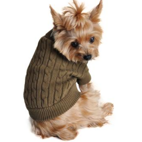 Combed Cotten Cable Knit Dog Sweater- Herb Green