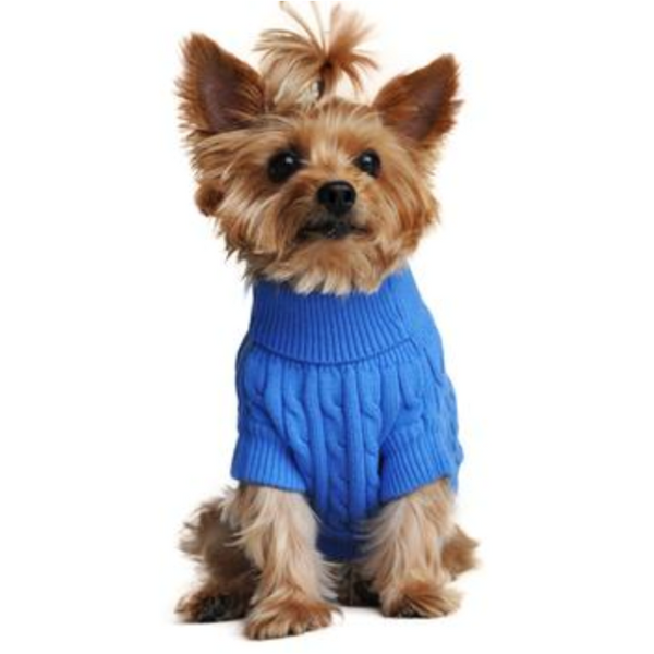 Combed Cotten Cable Knit Dog Sweater- Blue
