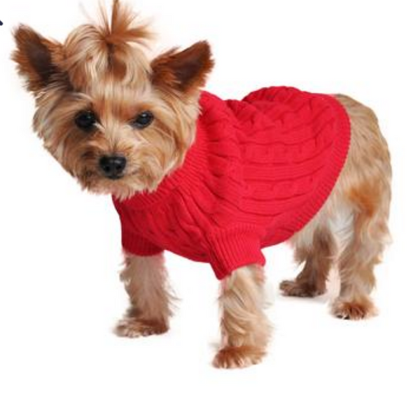 Combed Cotten Cable Knit Dog Sweater- Red