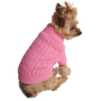 Combed Cotten Cable Knit Dog Sweater- Pink