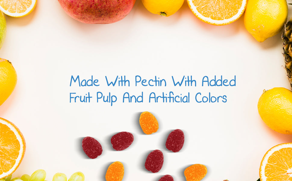fruits with a light background and gummies