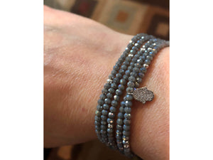 Gray Beaded Bracelet with Hamsa Charm