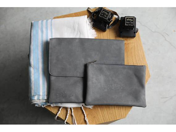 Gray Tallit and Tefillin Bag Set