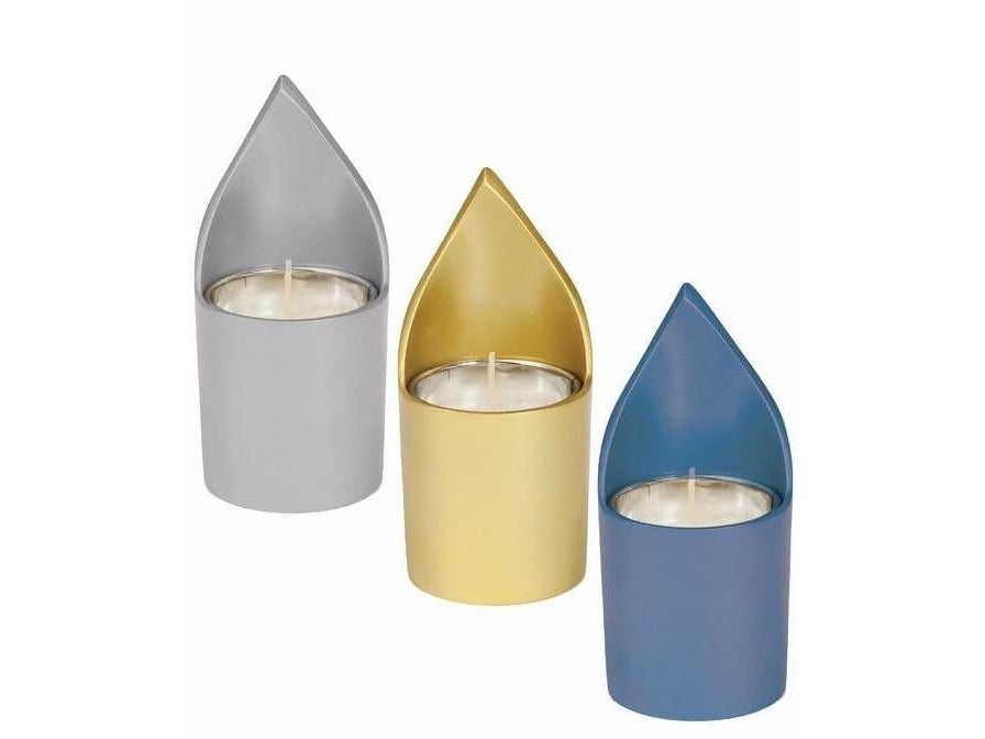 Anodized Aluminum Flame-Shaped Yahrzeit Memorial Candle Holder