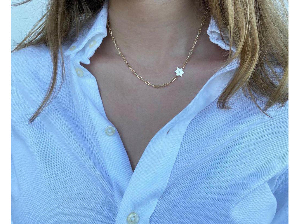 Star of David Necklace - Paperclip Necklace - With Diamond