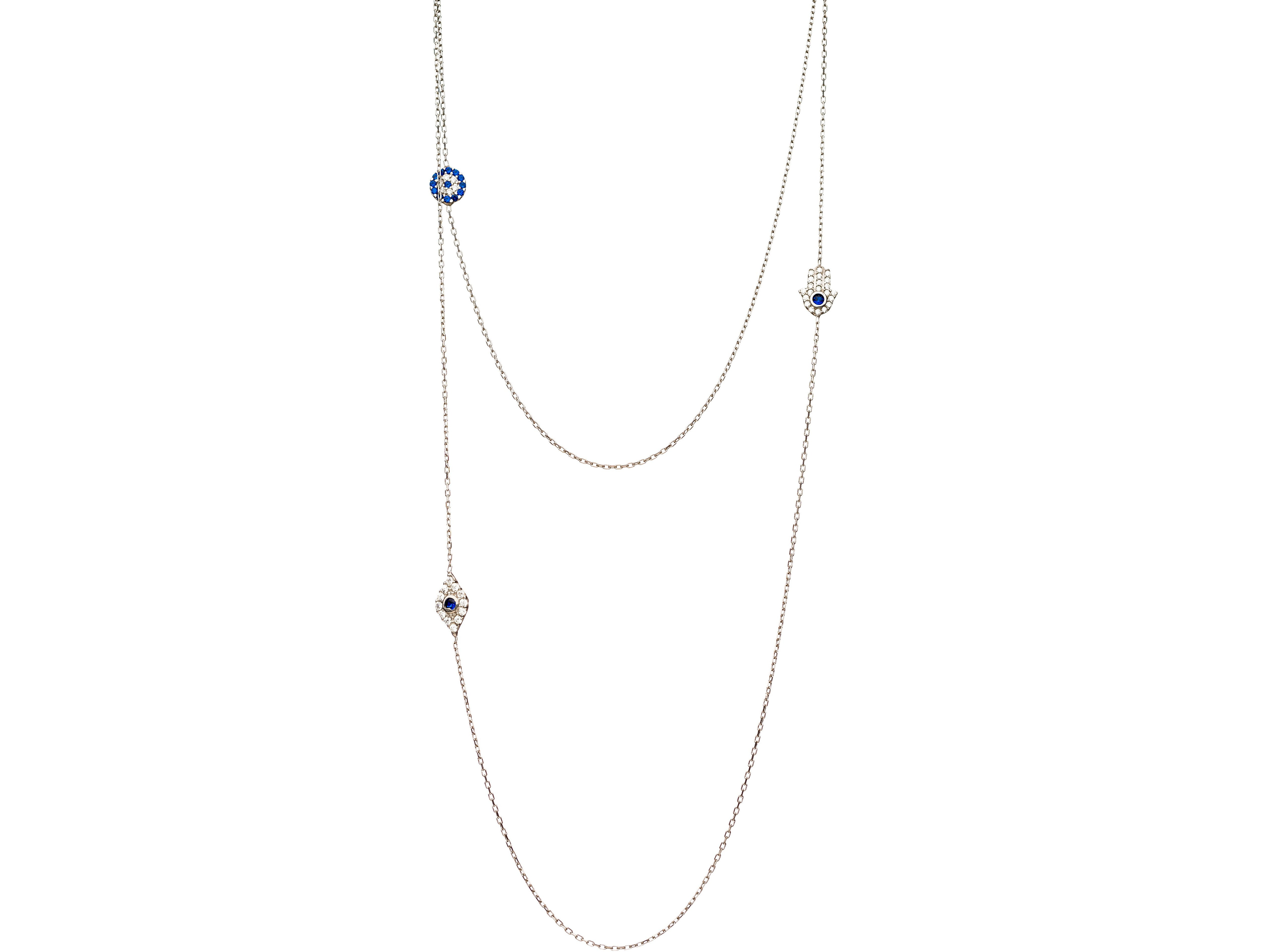 Long Necklace with Hamsa and Evil Eye Charms