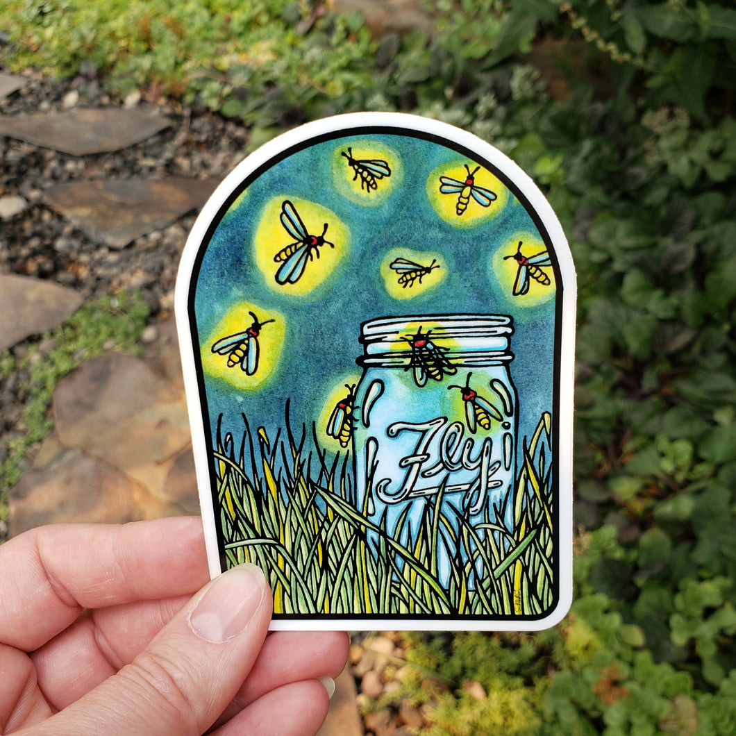 Fireflies Sticker - Sarah Angst Art Greeting Cards, Stickers, and More